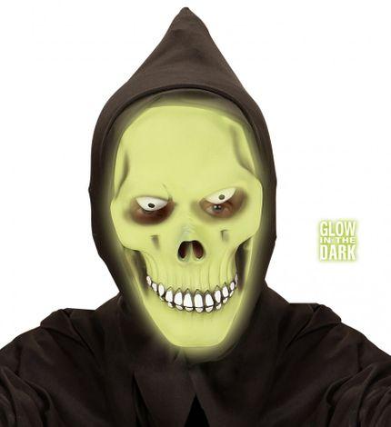 Horror-Maske Grüner Totenkopf Glow-in-the-dark Grim Reaper Halloween Skull Tod Latex Geist – Bild 1