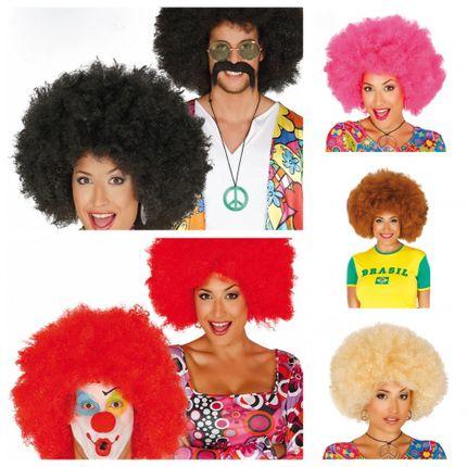 Große Afro-Perücke für Damen und Herren Locken Hippie Clown  – Bild 1