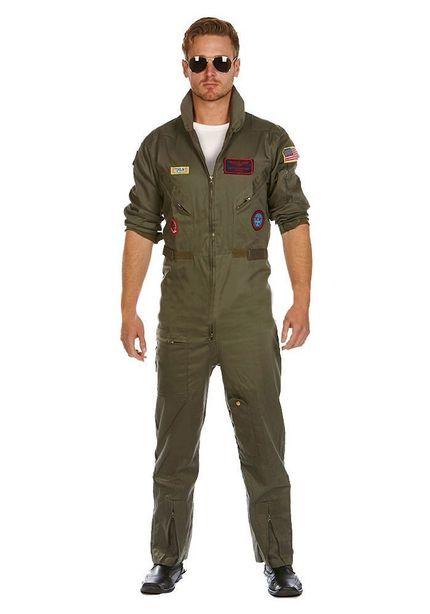 Deluxe Piloten-Overall Jetpilot Kostüm aus Baumwolle inkl. Brille FÜR GROSSE HERREN