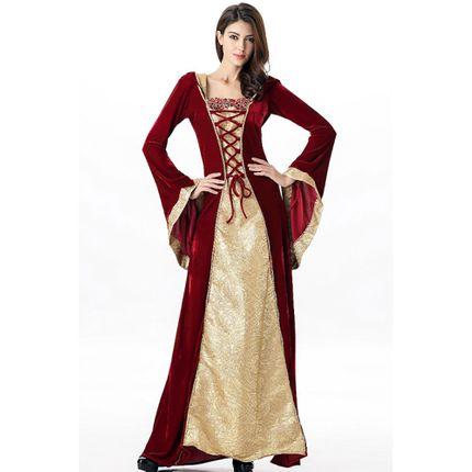 Mittelalterliches Burgfräulein Kostüm Rot/Gold in Deluxe-Ausführung – Bild 2