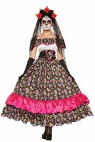Day of the Dead Spanierin Damen-Kostüm - LANGES KLEID