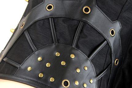 Schwarze Steampunk Korsage / Weste aus Kunstleder mit Schwenkhaken – Bild 4