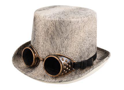 Zylinder mit schwarz-beigem Muster und Steampunk Goggles Gr. 58-61