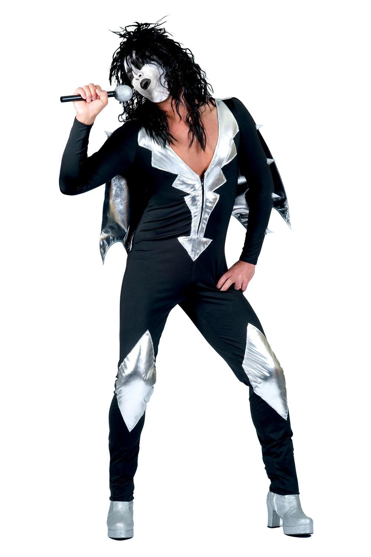 Glam Rock Herren Kostum Rockstar Overall Mit Cape Schwarz Silber