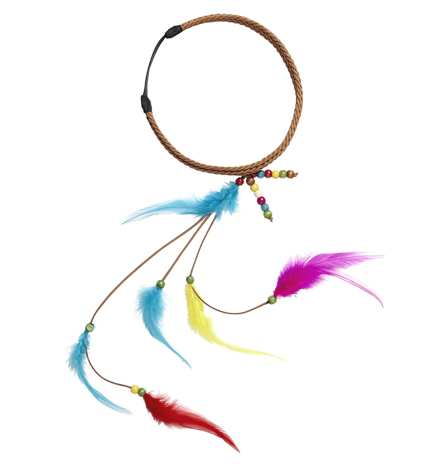 42991149866e07 Hippie Stirnband Federn und Perlen Indianerin-Kostüm Haarschmuck ...