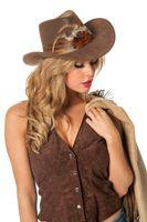 Brauner Cowboyhut mit Federn in Luxusausführung für Damen 001