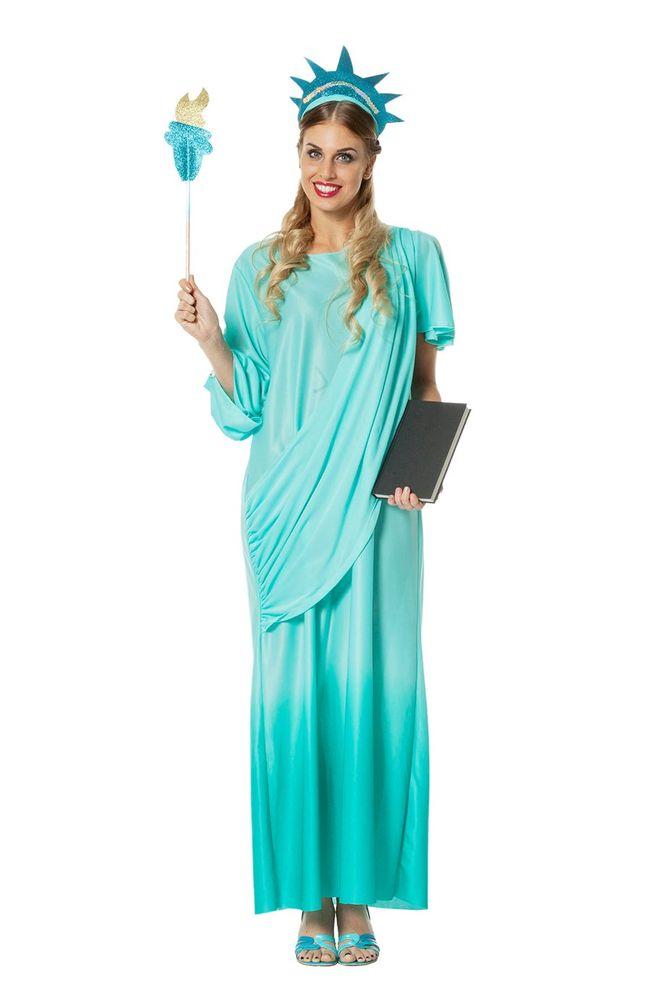 deluxe damen kost m freiheitsstatue kleid mit sch rpe kopfschmuck fackel statue of liberty. Black Bedroom Furniture Sets. Home Design Ideas