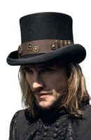 Braune Steampunk Hut Verzierung aus Kunstleder mit Patronenhülsen und Zahnrädern