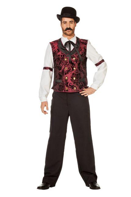 Wildwest Saloon Barkeeper Herren Kostüm Hemd mit Binder und Weste