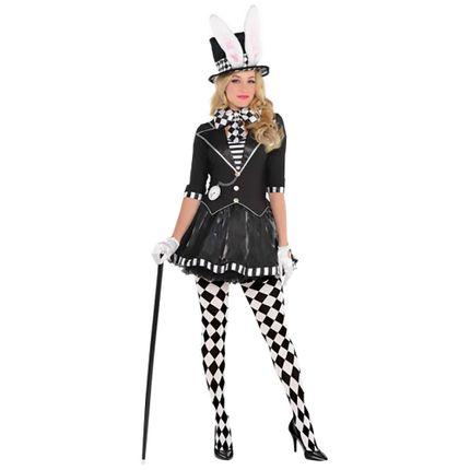 Verrückter Hutmacher Schwarz-Weiß Damen Kostüm inkl. Hut mit Hasenohren – Bild 1