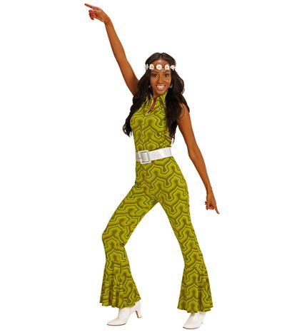 70er Jahre Retro JUMPSUIT mit Tapetenmuster Grün – Bild 3