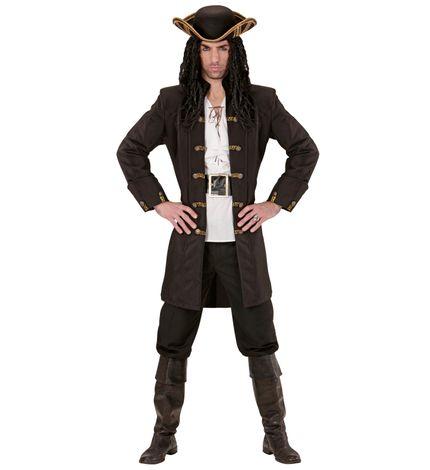 Schwarzer HERREN Mantel mit goldenen Knöpfen für Piraten – Bild 3