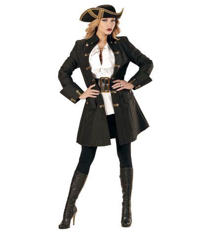 Schwarzer DAMEN Mantel mit goldenen Knöpfen für Piratin – Bild 1