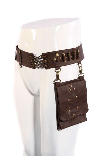 Steampunk Kunstleder Munitionsgürtel mit Tasche für Damen und Herren Braun SPM035 – Bild 1
