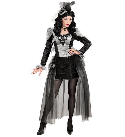 Deluxe Damen Kostüm Dunkle Gräfin mit Krinoline Reifrock – Bild 1