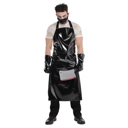 Schlächter Set Halloween Herren Kostüm Lack Schwarz