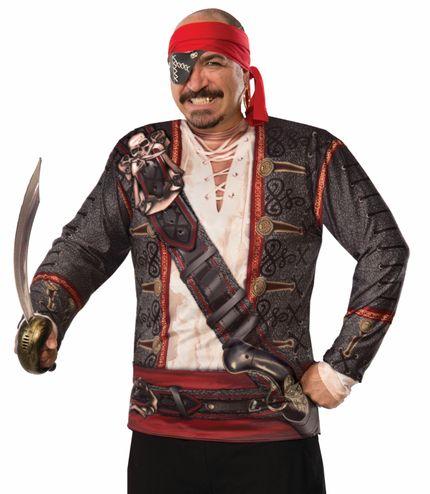 Fotorealistisches Langarm Shirt für Herren Kostüm Pirat Gr. L – Bild 1