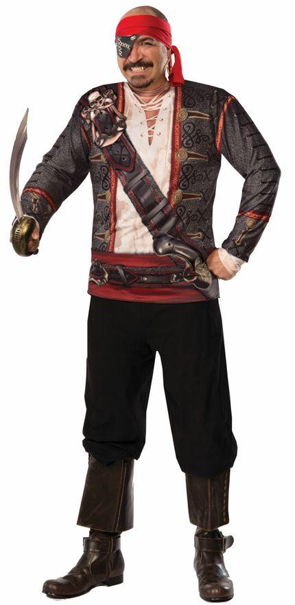 Fotorealistisches Langarm Shirt für Herren Kostüm Pirat Gr. L – Bild 2
