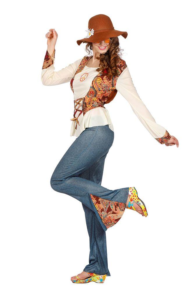 hippie piece damen kost m mit jeans schlaghose 60er 70er. Black Bedroom Furniture Sets. Home Design Ideas