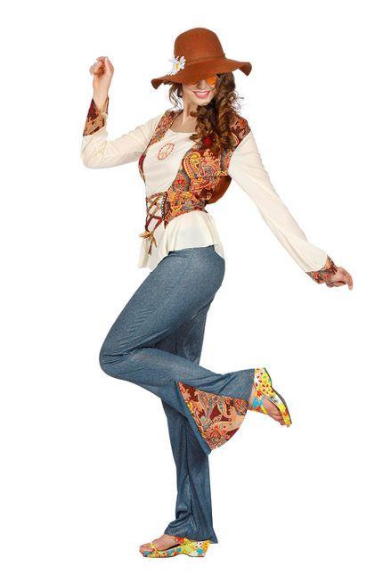 Hippie Piece Damen Kostüm mit Jeans-Schlaghose – Bild 2