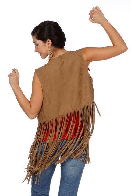 Fransen-Weste in Wildleder-Optik für Hippie und Indianerin Damen Kostüm  – Bild 4