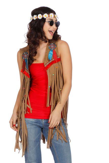 Fransen-Weste in Wildleder-Optik für Hippie und Indianerin Damen Kostüm  – Bild 1
