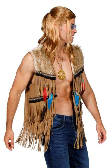 Fransen-Weste in Wildleder-Optik für Hippie und Indianer Herren Kostüm  – Bild 2