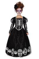 Kinderkostüm Tag des Todes Kleid mit Sugar Skull Totenköpfen und Skelett für Mädchen