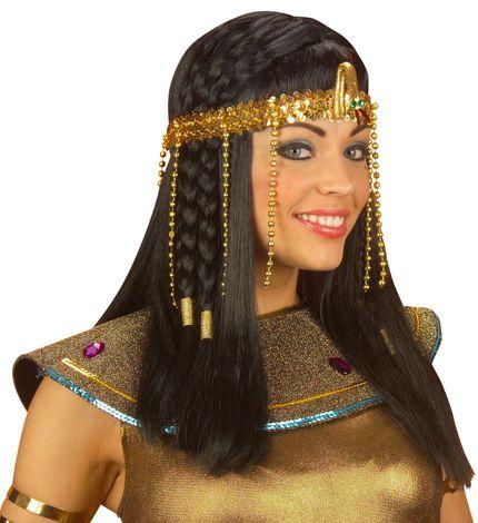 Ägyptischer Kopfschmuck mit Schlange und Perlen Gold