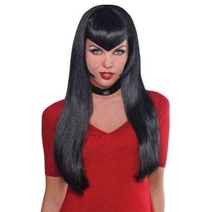 Schwarze Halloween Damen Vampir Perücke mit spitzem Pony Deadly Beauty