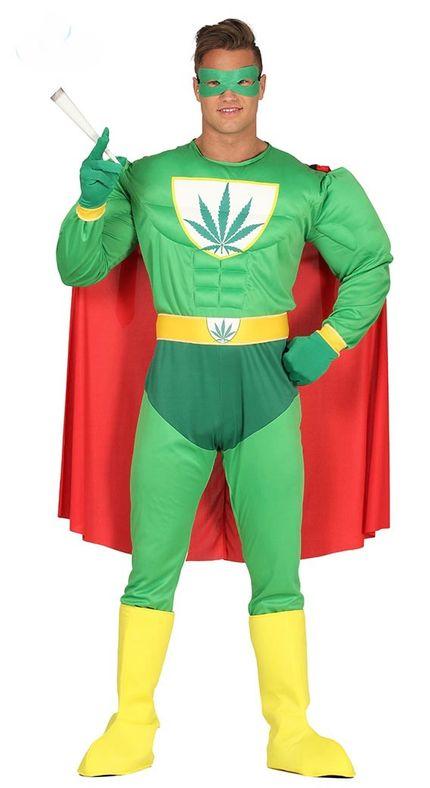 Herren-Kostüm Marihuana Hanf Superheld mit Muskeln