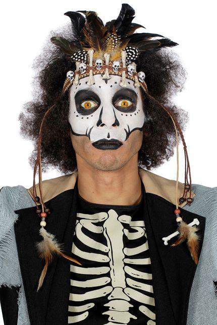 Voodoo Stirnband mit Totenköpfen Knochen und Federn