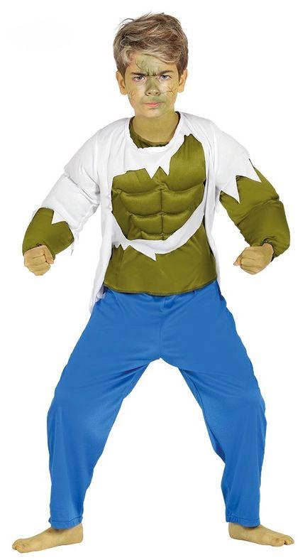 Kinder-Kostüm Hulk mit Muskeln grün