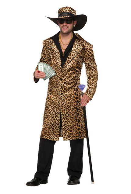 Funky Leopard Pimp Herren-Kostüm Gr. L Mantel und Hut