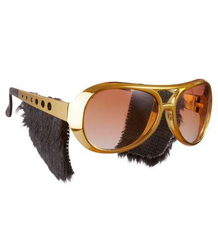 Goldene Elvis Sonnenbrille mit Koteletten – Bild 1