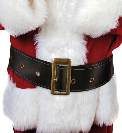 Schwarzer Weihnachtsmann Gürtel aus Kunstleder mit goldener Schnalle 150 cm