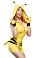 Deluxe Pikachu Damen Kostüm Jumpsuit mit Kapuze