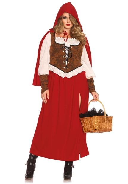 Rotkäppchen lang Plus Size Damen-Kostüm Leg Avenue - Woodland Red Riding Hood