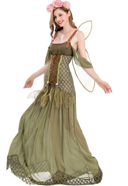 Zauberhafte Waldelfe Damen Kostüm mit Flügeln – Bild 2