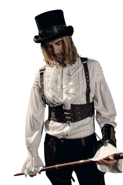 Steampunk Herren Harnisch-Weste Braun aus Kunstleder SPM031 von RQ-BL – Bild 1