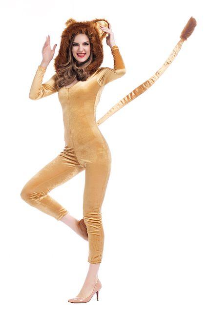 Sexy Löwe Damen Kostüm Overall mit Kapuze Kunstfell – Bild 5