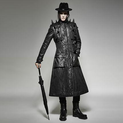 Steampunk Gothic Herren Mantel Wildleder Optik Punk Rave Y-699 – Bild 4