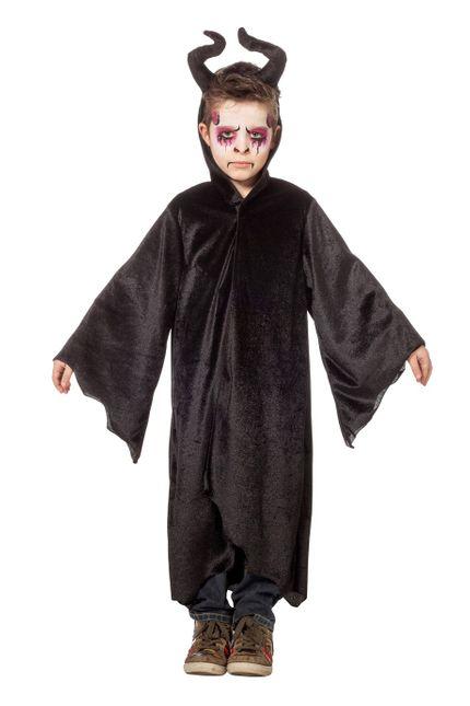 Kinder Kostüm Dark King Robe mit diabolischen Hörnern – Bild 1