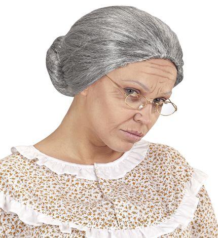Oma Damen Perücke grau meliert mit Dutt – Bild 2