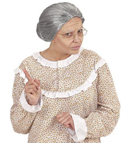 Oma Damen Perücke grau meliert mit Dutt – Bild 3