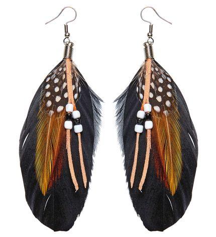 Feder Ohrringe Leder Perlen – Bild 1