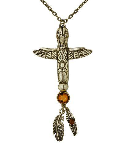 Goldene Totem Kette mit Steinen für Indianer und Ägypterin – Bild 1