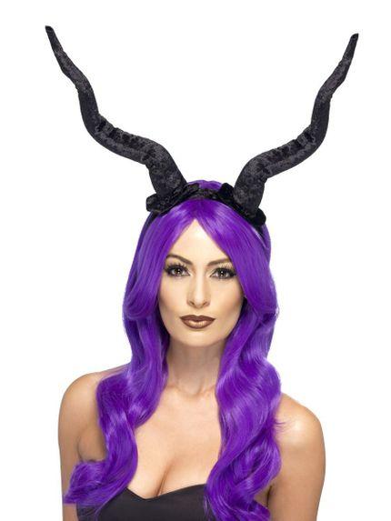 Schwarzer Haarreifen mit Dämonen Hörnern Maleficent