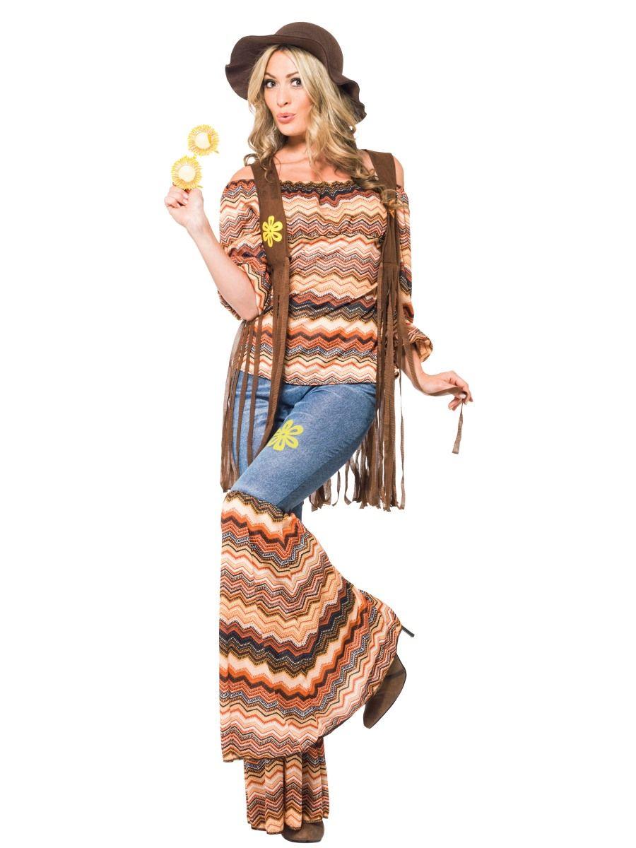 3e6d8c3ba39f3d Hippie Harmony Damen-Kostüm Top Schlaghose Weste Carmen-Top 60er ...