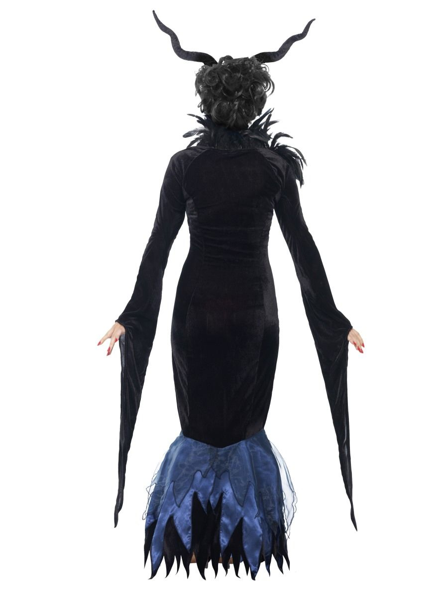 Damen Kostüm Lady Raven schwarzes Kleid mit Federn